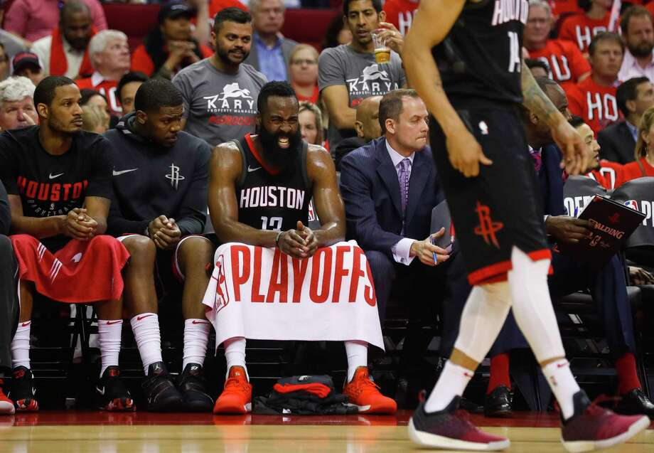 Houston Rockets guard James Harden (13) reacts from the Rockets bench during the first half in Game 1 of the NBA Western Conference Finals at Toyota Center on Monday, May 14, 2018, in Houston. Photo: Brett Coomer, Houston Chronicle / © 2018 Houston Chronicle