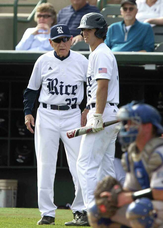 Rice's Charlie Warren, former player from The Woodlands, talks with head coach Wayne Graham during an NCAA baseball game against Louisiana Tech Saturday. Warren finished the game with two hits and two RBIs in the team's 8-7 on a walk-off win. Go to HCNpics.com to view more photos from the game. Photo: Jason Fochtman / Internal