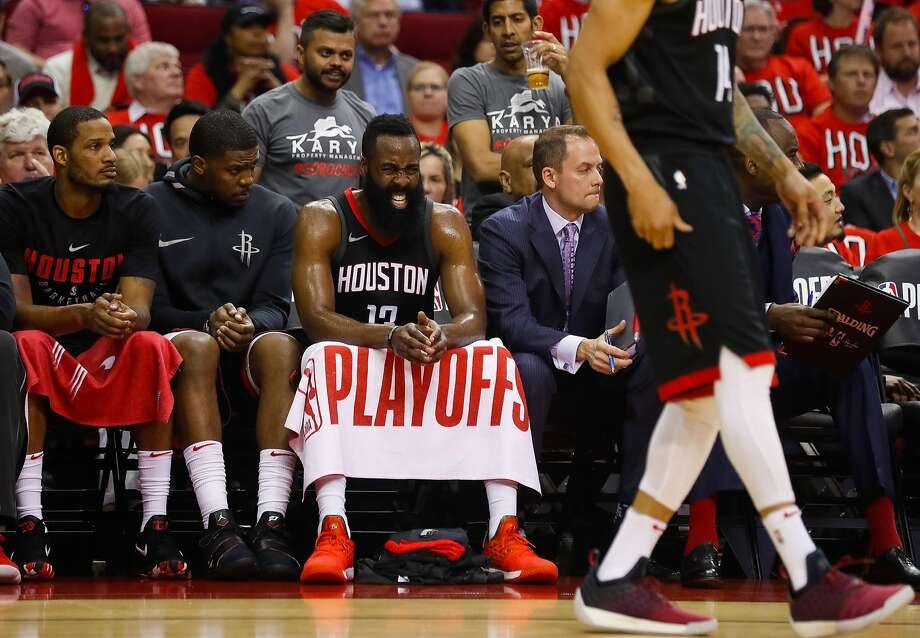 Houston Rockets guard James Harden (13) reacts from the Rockets bench during the first half in Game 1 of the NBA Western Conference Finals at Toyota Center on Monday, May 14, 2018, in Houston. ( Brett Coomer / Houston Chronicle ) Photo: Brett Coomer / Houston Chronicle