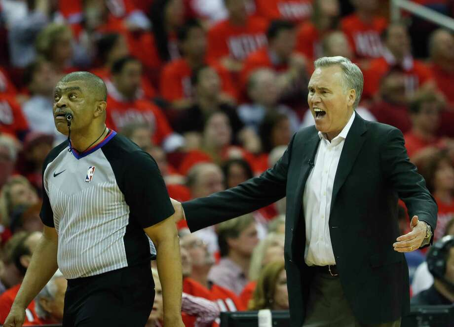 Houston Rockets head coach Mike D'Antoni argues a call during the second half in Game 1 of the NBA Western Conference Finals at Toyota Center on Monday, May 14, 2018, in Houston. Photo: Brett Coomer, Houston Chronicle / © 2018 Houston Chronicle