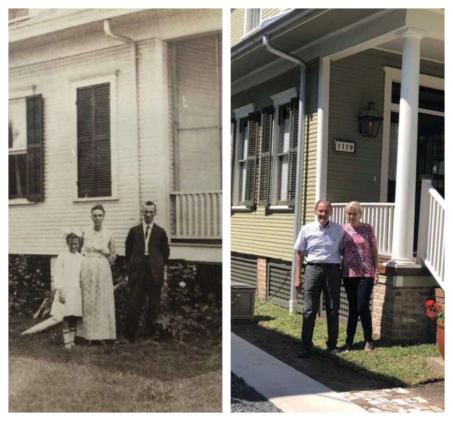 Left: Lawrence and Marie Simon pose outside their Montrose home in 1909. Right: Hilary and JoAnn Bellew re-create the photo of Hilary's grandparents. Photo: Courtesy Of Hillary Bellew / Photo By Diane Cowen
