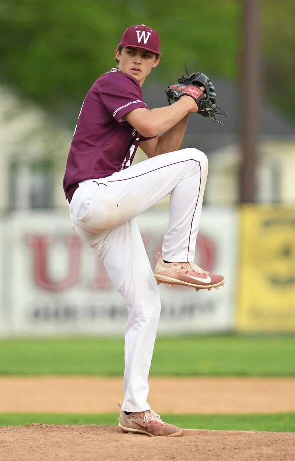 Whitehall pitcher Evan St. Claire throws the ball during a baseball game against Lake George on Monday, May 14, 2018 in Glens Falls, N.Y. (Lori Van Buren/Times Union) Photo: Lori Van Buren / 20043771A