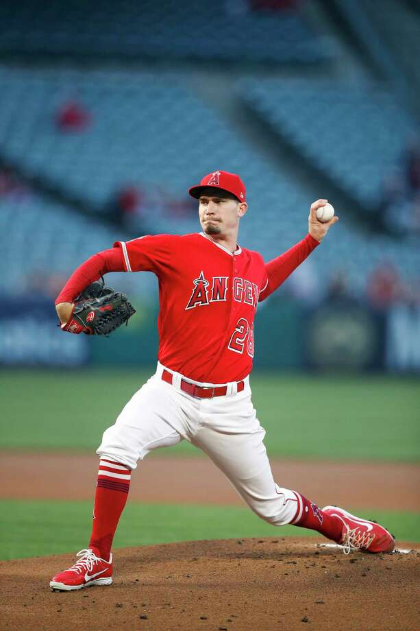 Los Angeles Angels starting pitcher Andrew Heaney throws against the Houston Astros during the first inning of a baseball game, Monday, May 14, 2018, in Anaheim, Calif. (AP Photo/Jae C. Hong) Photo: Jae C. Hong, Associated Press / Copyright 2018 The Associated Press. All rights reserved.