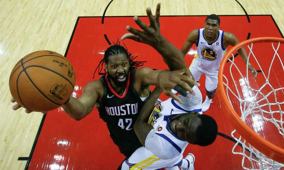 Houston Rockets center Nene (42) takes a shot against Golden State Warriors forward Draymond Green (23) during the second half of Game 1 of the NBA Western Conference Finals at Toyota Center on Monday, May 14, 2018, in Houston. Photo: Brett Coomer, Houston Chronicle / © 2018 Houston Chronicle