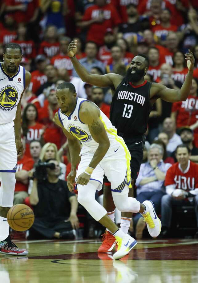 Rockets guard James Harden, right, looks on in disgust as Warriors forward Andre Iguodala, center, forces a second-half turnover. Photo: Brett Coomer, Staff / Houston Chronicle / © 2018 Houston Chronicle