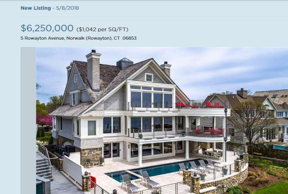 The home at 5 Rowayton Ave. in Norwalk, Conn., which became the third most expensive on the market as of early May 2018 listed at $6.25 million by William Raveis Real Estate.