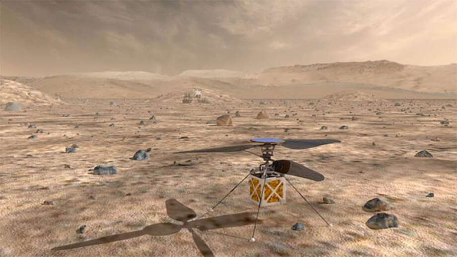 The Mars Helicopter, a small, autonomous spacecraft. Photo: NASA, JPL-Caltech / The Washington Post
