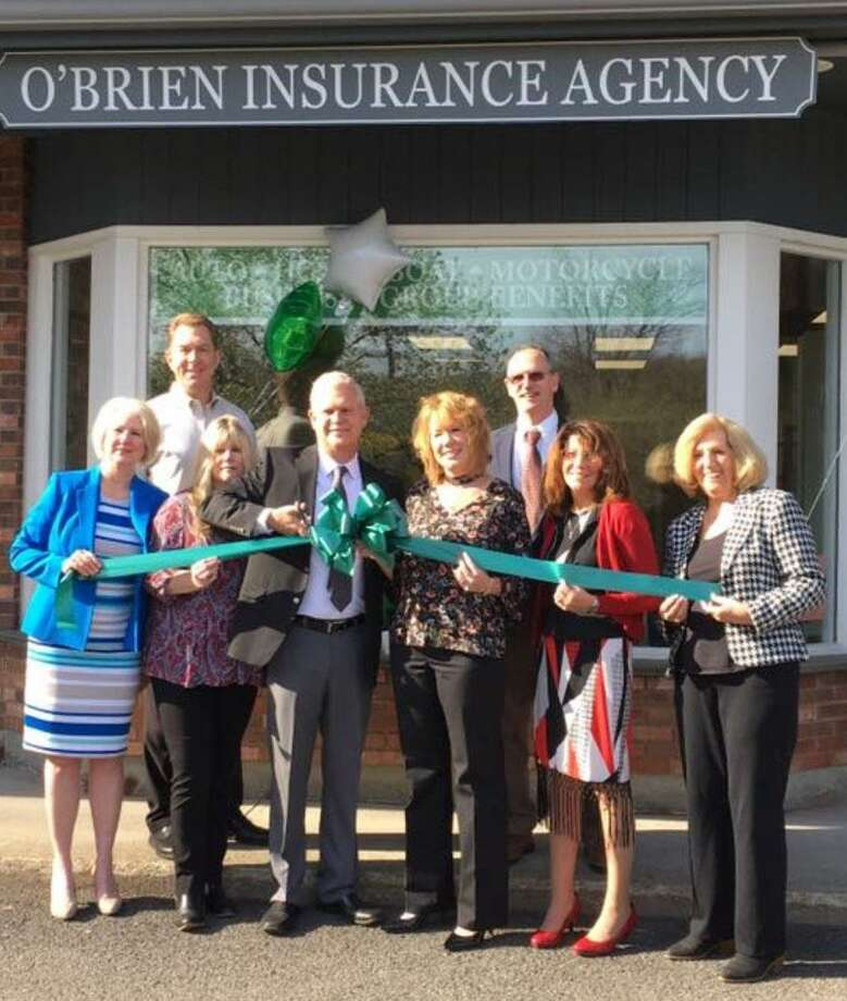 The O'Brien Insurance Agency, LLC in New Milford has opened a second office at 88 Route 37 in New Fairfield. Assisting Christopher and Amy O'Brien, center, with the ribbon-cutting ceremony to open the office are, from left, New Fairfield First Selectman Patricia Del Monaco; O'Brien Insurance agent Brian Peet, a resident of New Fairfield; Celeste Turner, personal lines CSR of New Milford; Bill Mitchell, agent and office manager; Brenda James-Arico, personal lines CSR of New Fairfield; and Kathy Frost, commercial CSR, of New Milford. Missing from the celebratory event were Anne Flynn, agent, of New Milford; Trisha Mitchell, a personal lines CSR, a resident of Naugatuck; and Laura Gustafson, receptionist, a resident of North Branford. Photo: Courtesy Of O'Brien Insurance Agency / The News-Times Contributed