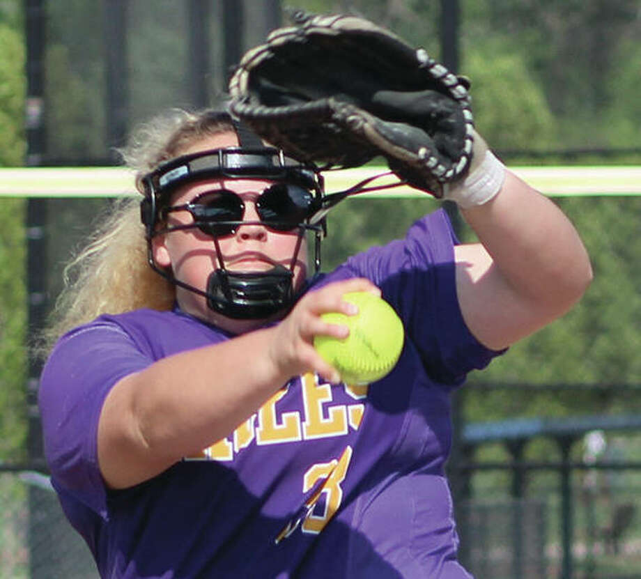 CM pitcher Kaitlynn Wrenn, shown in action last week at home against Waterloo, limited the once-beaten Freeburg Midgets to two runs Monday at the Bethalto Sports Complex, but the Midgets improved to 23-1 with a 2-0 win over the Eagles. Photo:       Greg Shashack / The Telegraph