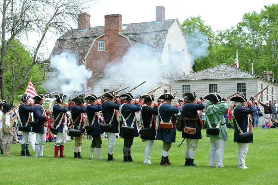 Colonial continentals fire their muskets at the Encampment. Photo: Webb-Deane-Stevens / Contributed Photo