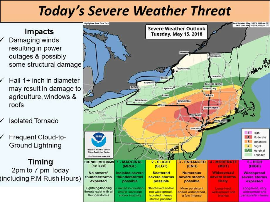 From the National Weather Service in Albany: The severe weather in the mid-Hudson Valley and western New England has increased to a moderate risk with the Capital District in an enhanced risk. See this image to learn the threats associated with these levels. Photo: Tornado Watch