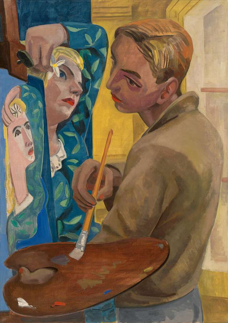 """David Park, """"Self Portrait of the Artist Painting his Wife"""" (1930s)"""