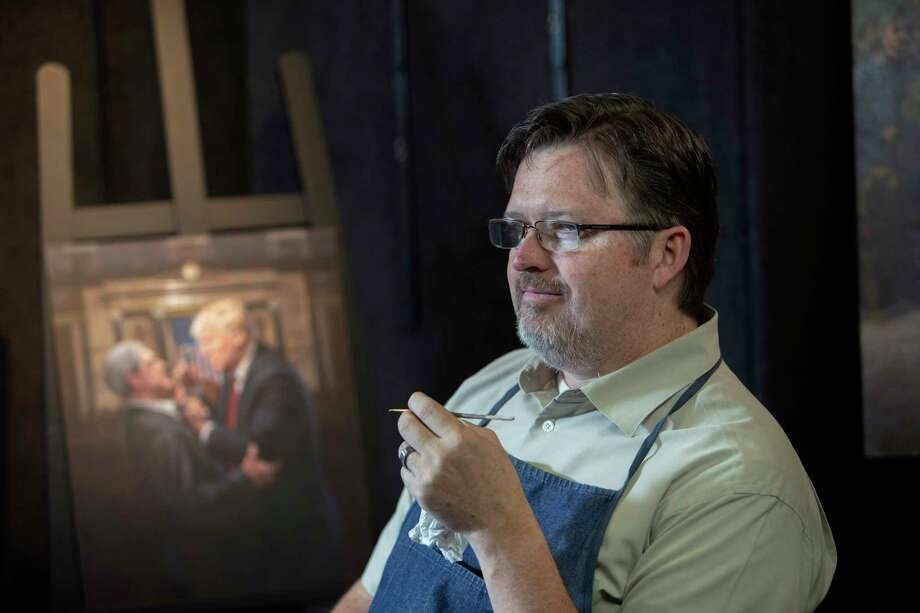 After the 2016 election, Jon McNaughton's paintings gained a hero in Donald Trump instead of just a villain in Barack Obama. Photo: Photo By Kim Raff For The Washington Post. / The Washington Post