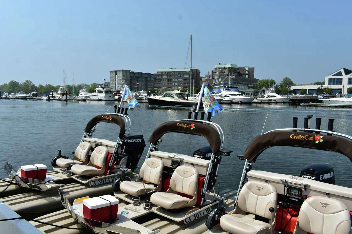 """Captain John's Tiki Tours launched Monday, May 15, 2018, at Harbor Point in Stamford, Conn., offering excursions on floating tiki bars and """"tiki kat"""" boat rentals, pictured."""