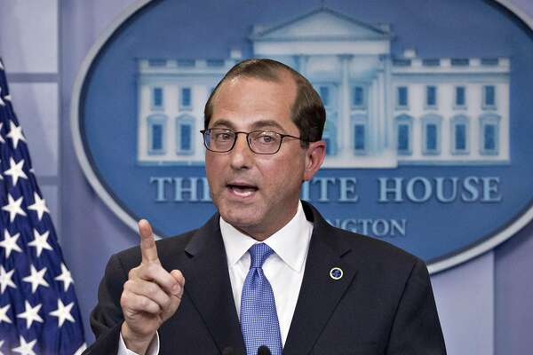 Alex Azar, secretary of Health and Human Services (HHS), speaks during a press briefing at the White House after an event on lowering drug prices with U.S. President Donald Trump, not pictured, in Washington, D.C., U.S., on Friday, May 11, 2018. Trump is proposing a sweeping effort to bring down U.S. drug prices in a long-awaited plan meant to fulfill a promise he has been pushing since his bid for the White House. Photographer: Andrew Harrer/Bloomberg