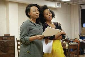 "Nikiya Mathis, left, and Brittany Bradford in rehearsal for Westport Country Playhouse's season opener, ""Flyin' West,"" on May 29."