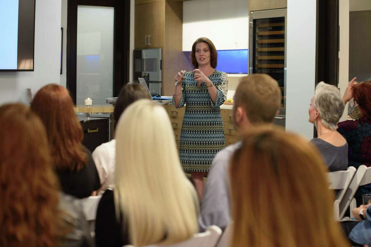 Pamela O'Brien of Pamela Hope Designs talked about kitchen and bathrooom trends during Access Design, an event from the Houston Chronicle and the Houston Design Center. Her talk was in the Kitchen & Bath Concepts showroom.