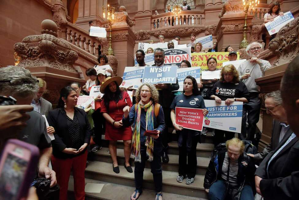 Donna Lieberman, director of the NYCLU, addresses members of various organizations that were calling on the legislature to pass the Farmworker Fair Labor Practices Act at a rally inside the Capitol on Tuesday, May 15, 2018, in Albany, N.Y. (Paul Buckowski/Times Union)