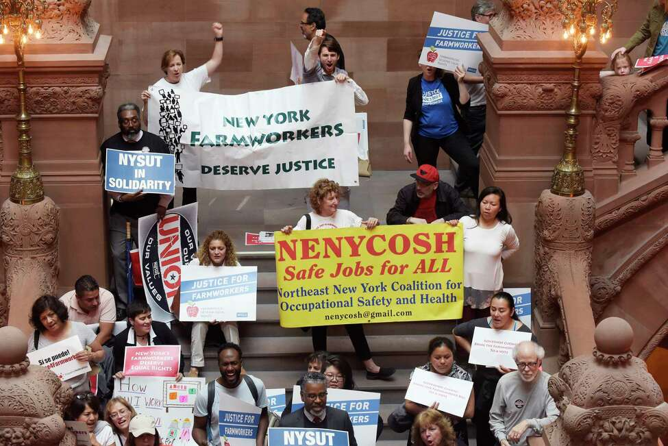 Groups calling on the legislature to pass the Farmworker Fair Labor Practices Act hold a rally inside the Capitol on Tuesday, May 15, 2018, in Albany, N.Y. (Paul Buckowski/Times Union)