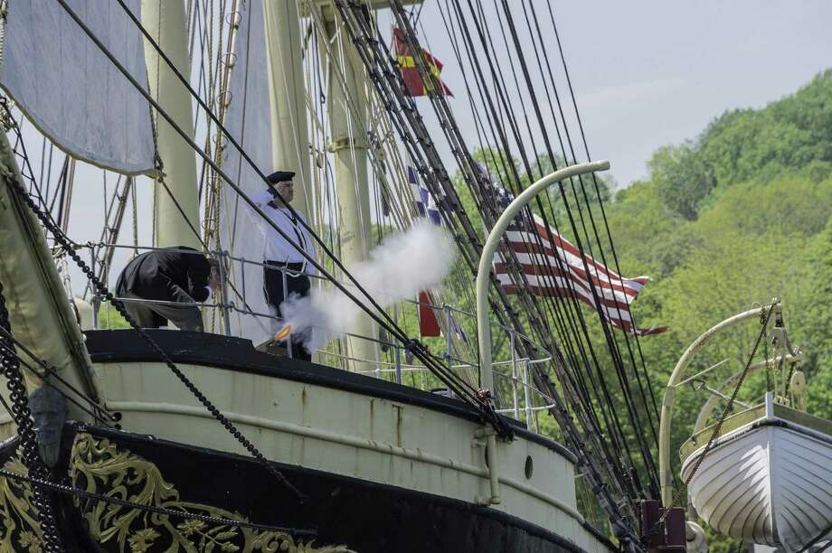Memorial Day is observed with dignity at Mystic Seaport. A three-gun salute will be given from the deck of the Joseph Conrad. Photo: Dennis A. Murphy / Contributed Photo / Connecticut Post Contributed