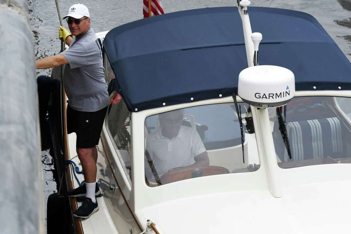 TV personality Geraldo Rivera and his brother, Craig, left, wait the water to rise in Lock 2 on the Erie Canal as the canal navigation season begins on Tuesday, May 15, 2018, in Waterford, N.Y. Rivera was sailing from New York to Cleveland. (Will Waldron/Times Union)