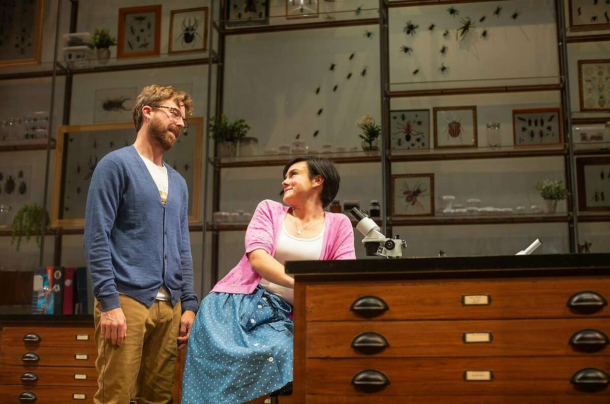 Lindsay (Jessica Lynn Carrol, right) examines insects under Jeff�s (Lucas Verbrugghe) supervision in San Francisco Playhouse's