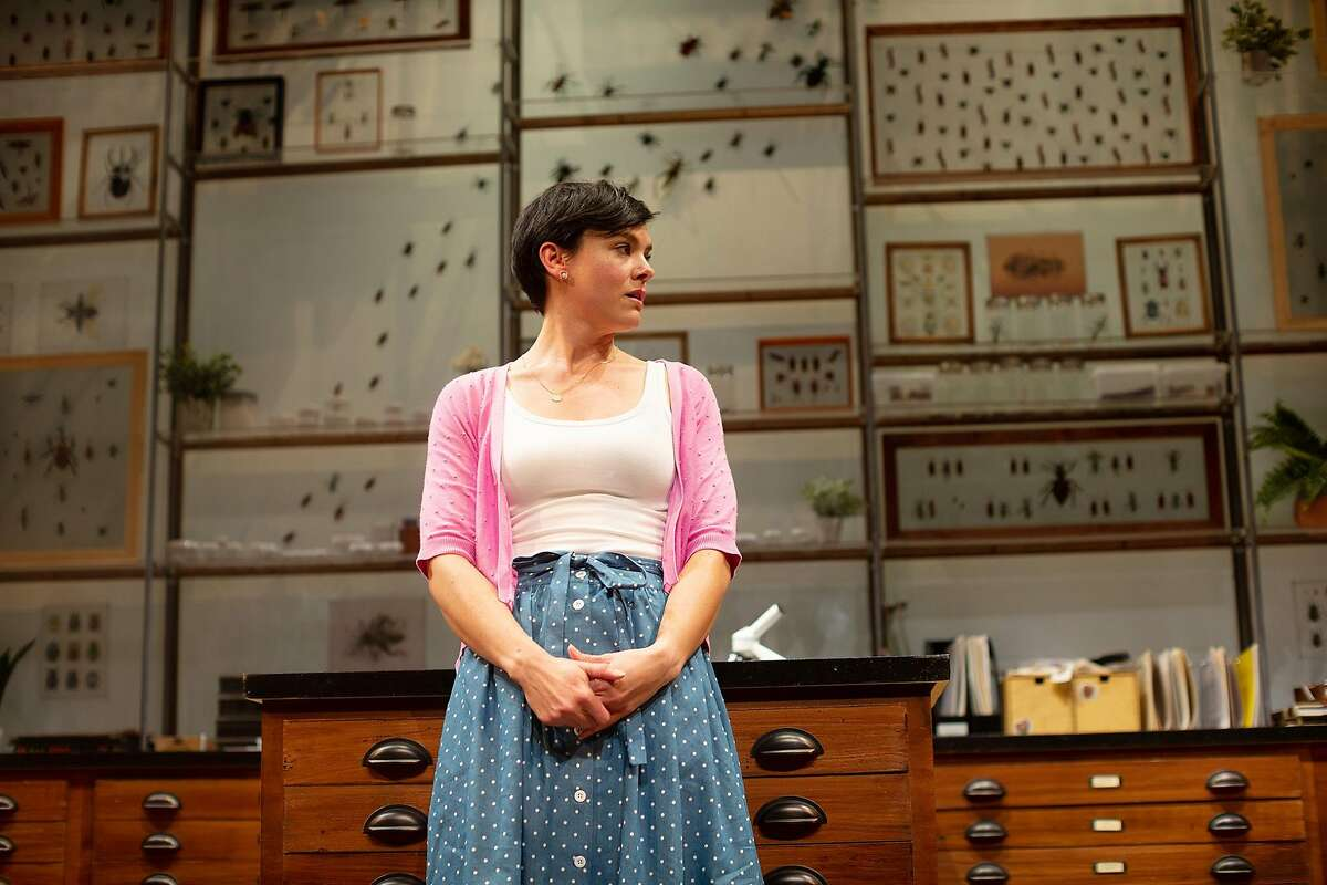 Lindsay (Jessica Lynn Carroll) waits in the entomology department in the Museum of Natural History in San Francisco Playhouse's