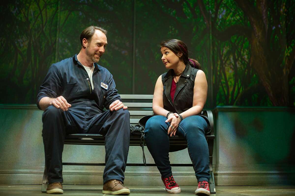 Andy (Will Springhorn, Jr.) and Betty (Lori Prince) meet in the park in San Francisco Playhouse's