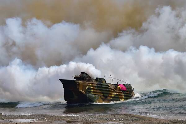 FILE — A South Korean Marine amphibious assault vehicle lands on the seashore during a joint landing operation by US and South Korean Marines in the southeastern port of Pohang on March 30, 2015. The drill is part of the annual joint exercise Foal Eagle to enhance the combat readiness of the US and South Korea supporting forces in defense of the Korean Peninsula.