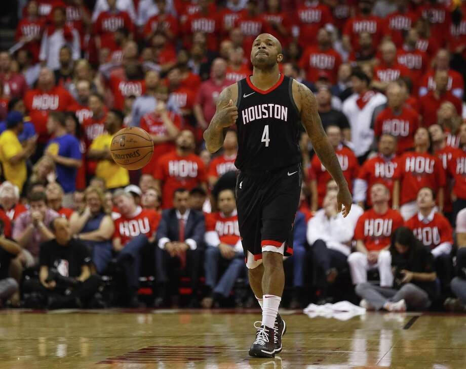 Houston Rockets forward PJ Tucker (4) reacts during the second half in Game 1 of the NBA Western Conference Finals at Toyota Center on Monday, May 14, 2018, in Houston. ( Brett Coomer / Houston Chronicle ) Photo: Brett Coomer,  Staff / Houston Chronicle / © 2018 Houston Chronicle