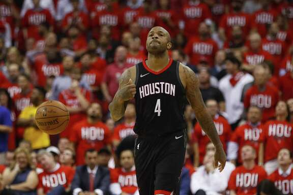Houston Rockets forward PJ Tucker (4) reacts during the second half in Game 1 of the NBA Western Conference Finals at Toyota Center on Monday, May 14, 2018, in Houston. ( Brett Coomer / Houston Chronicle )