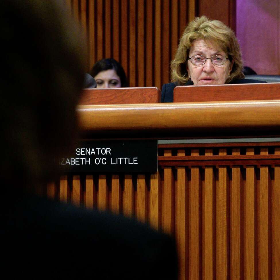 Senator Betty Little, right, questions acting- AG Barbara Underwood as she's interviewed by the State Legislature's interview committee for an appointment as state attorney general Tuesday May 15, 2018 in Albany, NY. (John Carl D'Annibale/Times Union)