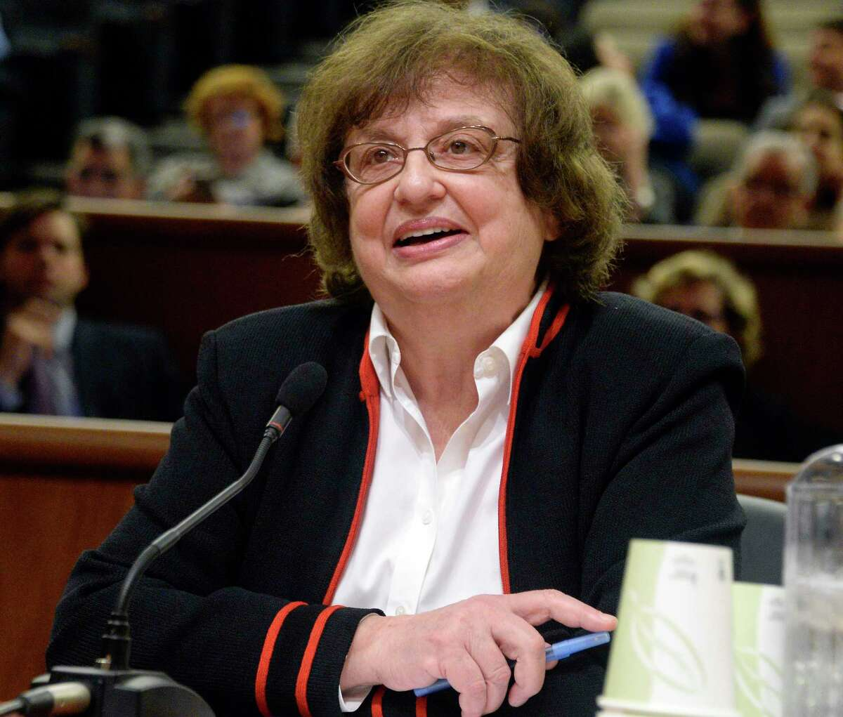 Acting- AG Barbara Underwood is interviewed by the State Legislature's interview committee for an appointment as state attorney general Tuesday May 15, 2018 in Albany, NY. (John Carl D'Annibale/Times Union)