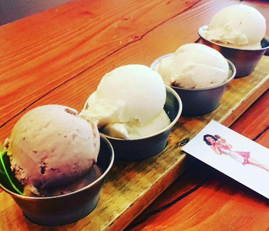 The House Boozy Ice Cream & Brews offers flights of booze-infused ice creams for $12. This lineup includes (from left to right): The Groom's Cake (Kahlúa), On the Rocks (tequila), French Toast (Fireball) and Bourbon Vanilla (Jim Beam Honey). Photo: Chuck Blount / San Antonio Express-News