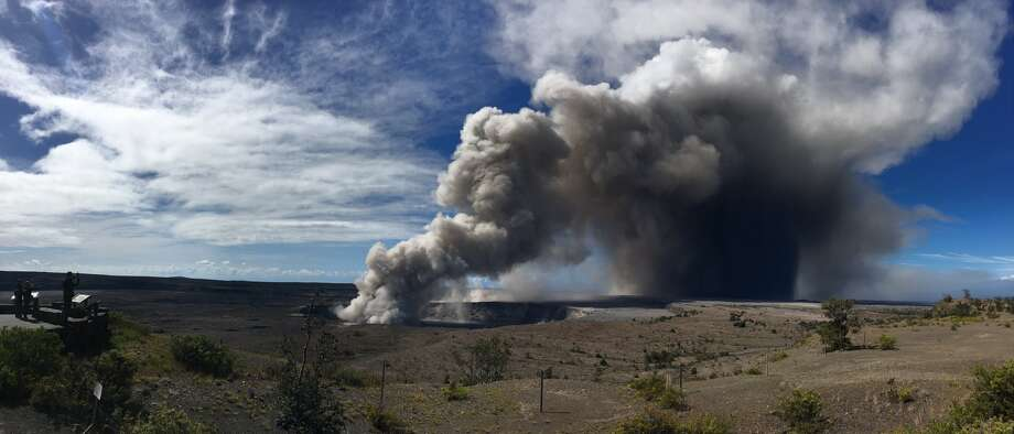 "USGS reported on Twitter on Tuesday: Ash emission from Halema'uma'u has increased this morning compared to previous days. Plume rising 3000-4000 ft above crater, drifting W and SW. Ashfall in Ka'u Desert & downwind."" Photo: USGS"