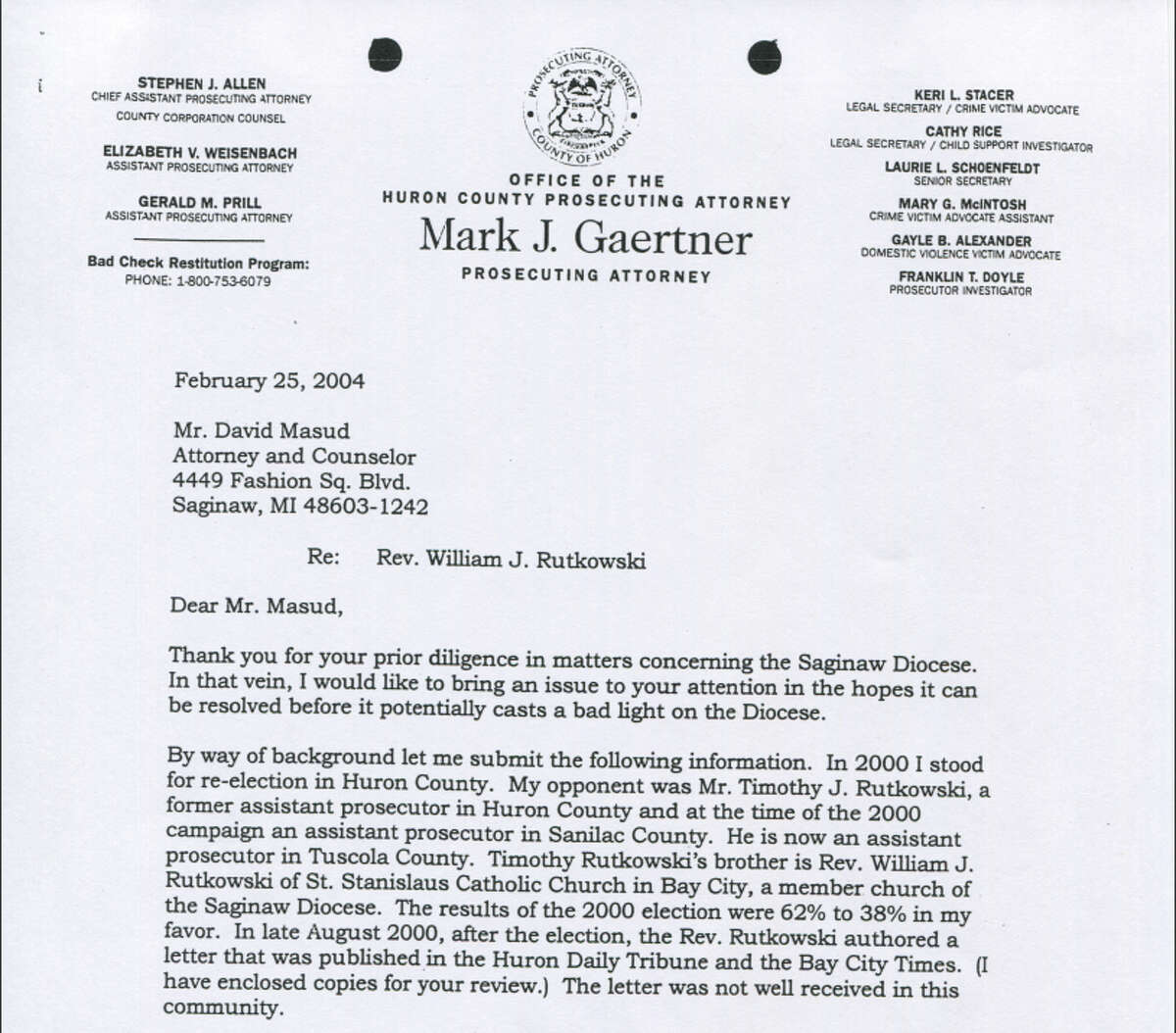 This is a 2004 letter from former Huron County Prosecutor Mark Gaertner to an attorney representing the Diocese of Saginaw.