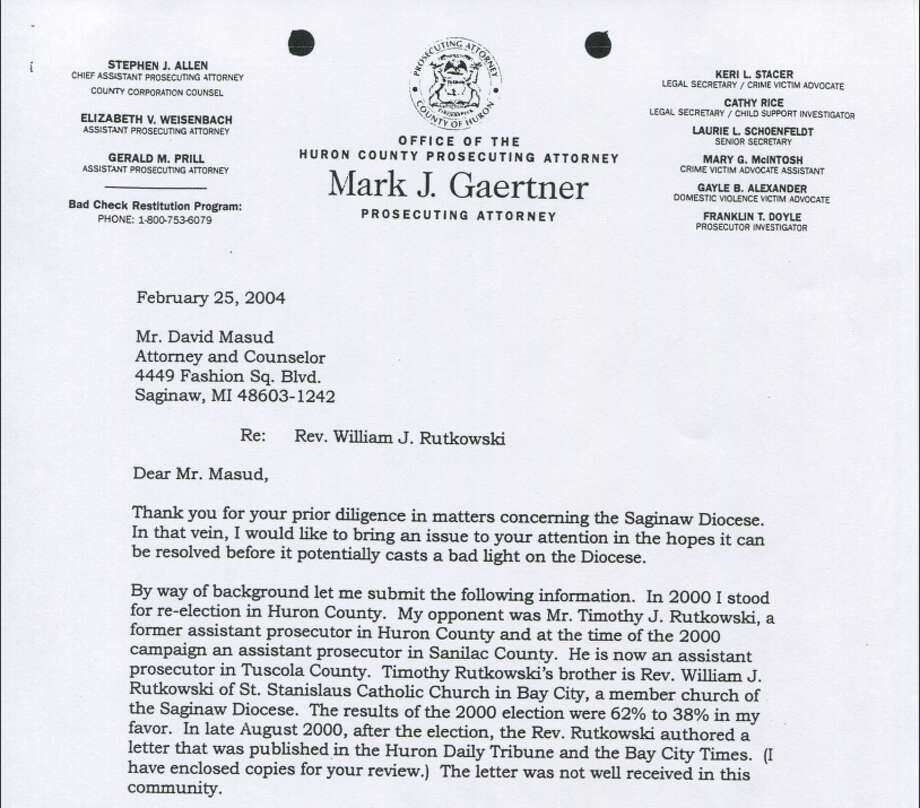 This is a 2004 letter from former Huron County Prosecutor Mark Gaertner to an attorney representing the Diocese of Saginaw. Photo: .