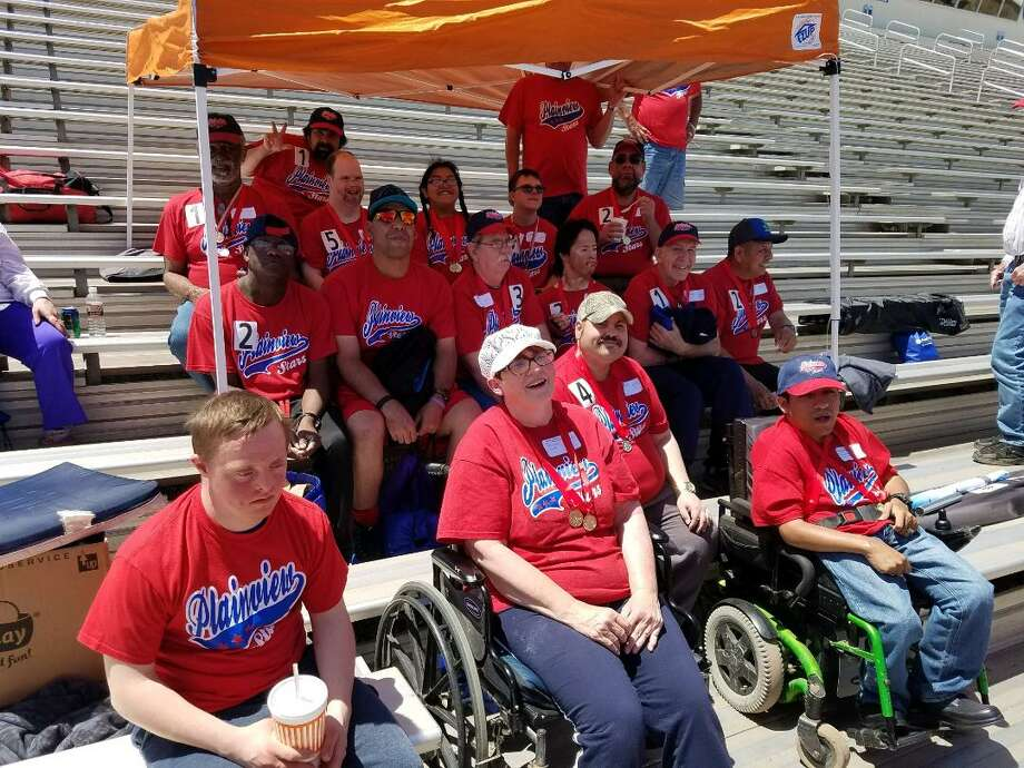 Plainview Stars athletes for 2018, gathered for the Area 17 Special Olympics Athletics competition April 28 at Frenship High School include Jared Ball (front left), Diane McDonough, Justin Cargill, Gabe Galindo, Danny Potts (second row left), Donnie Matsler, Ronnie Price, Raymond Quintanilla, Lynn Mason, Jimmy Suniga, Joe Hill Jr. (third row left), Tracy Poole, Marissa Enriquez, Ryan Ethridge, Brian Green, Paul Lopez (back) and Christian Borrego (not shown.) Photo: Courtesy Photo