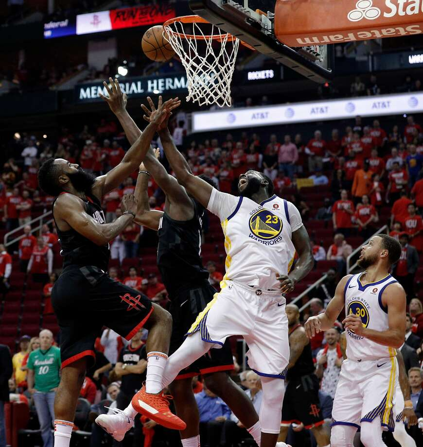 Draymond Green (23) defends against a shot by Chris Paul (3) in the second half as the Golden State Warriors played the Houston Rockets in Game 1 of the Western Conference Finals at Toyota Center in Houston, Texas., on Monday, May 14, 2018. Photo: Carlos Avila Gonzalez / The Chronicle
