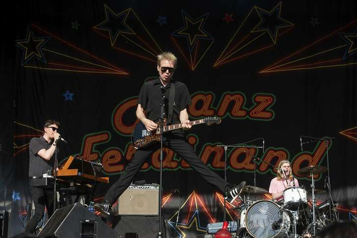Julian Corrie, from left, Alex Kapranos, and Paul Thomson, of Franz Ferdinand, perform on stage at Shaky Knees Music Festival on Friday, May 4, 2018, in Atlanta. (Photo by Paul R. Giunta/Invision/AP)