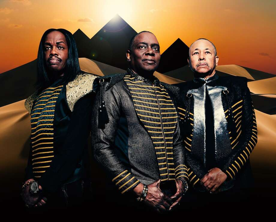 Verdine White, left, Philip Bailey and Ralph Johnson, of Earth, Wind & Fire, perform at the Palace Theatre in Stamford on May 30. Photo: Earth, Wind & Fire / Contributed Photo