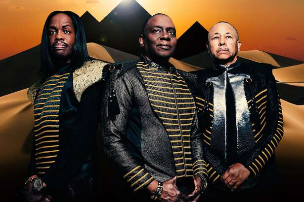 Verdine White, left, Philip Bailey and Ralph Johnson, of Earth, Wind & Fire, perform at the Palace Theatre in Stamford on May 30.