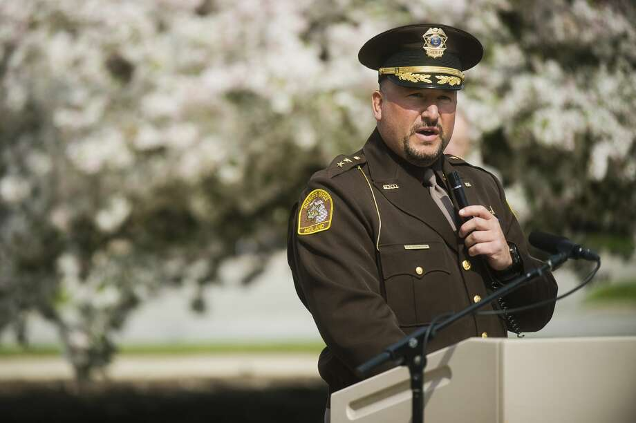 Midland County Sheriff Scott Stephenson speaks during a ceremony honoring fallen officers for Peace Officers Memorial Day on Tuesday, May 15, 2018 at the Midland Law Enforcement Center. (Katy Kildee/kkildee@mdn.net) Photo: (Katy Kildee/kkildee@mdn.net)