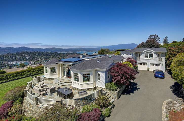 1185 Mountain View Drive in Tiburon is a four-bedroom East Coast-style home with views of San Francisco, the Golden Gate Bridge and Angel Island.�