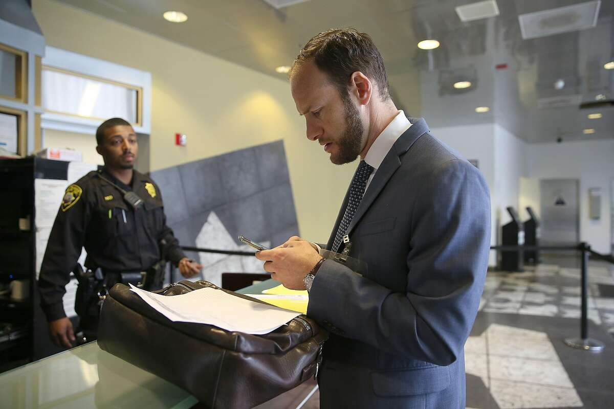 Deputy public defender Chesa Boudin checks in at county jail #2 as part of the public defender pretrial release unit on Monday, May 14, 2018 in San Francisco, Calif.