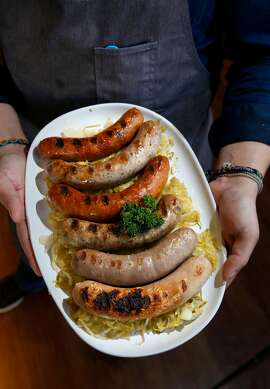 The sausage party platter on the menu at Wursthall restaurant in San Mateo, Ca. as seen on Wed. May 9, 2018.