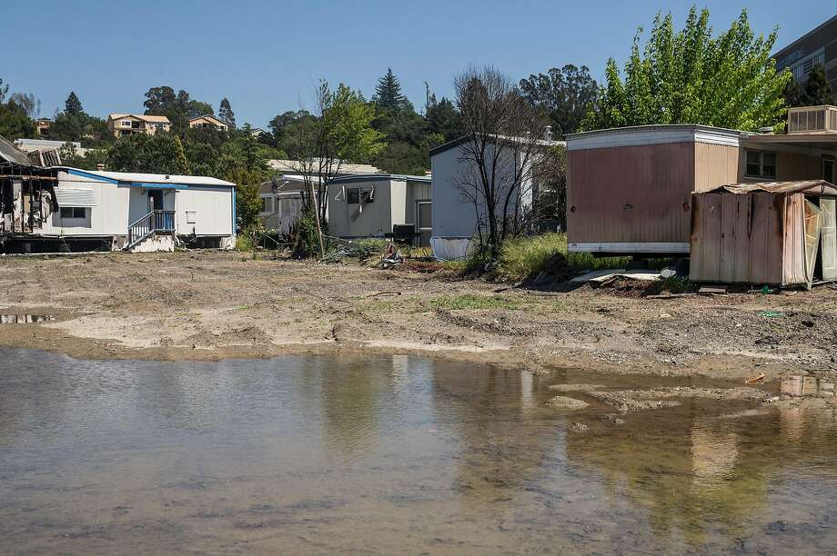 A handful of structures are still standing at Journey's End Mobile Home Park in Santa Rosa. Photo: Jessica Christian / The Chronicle