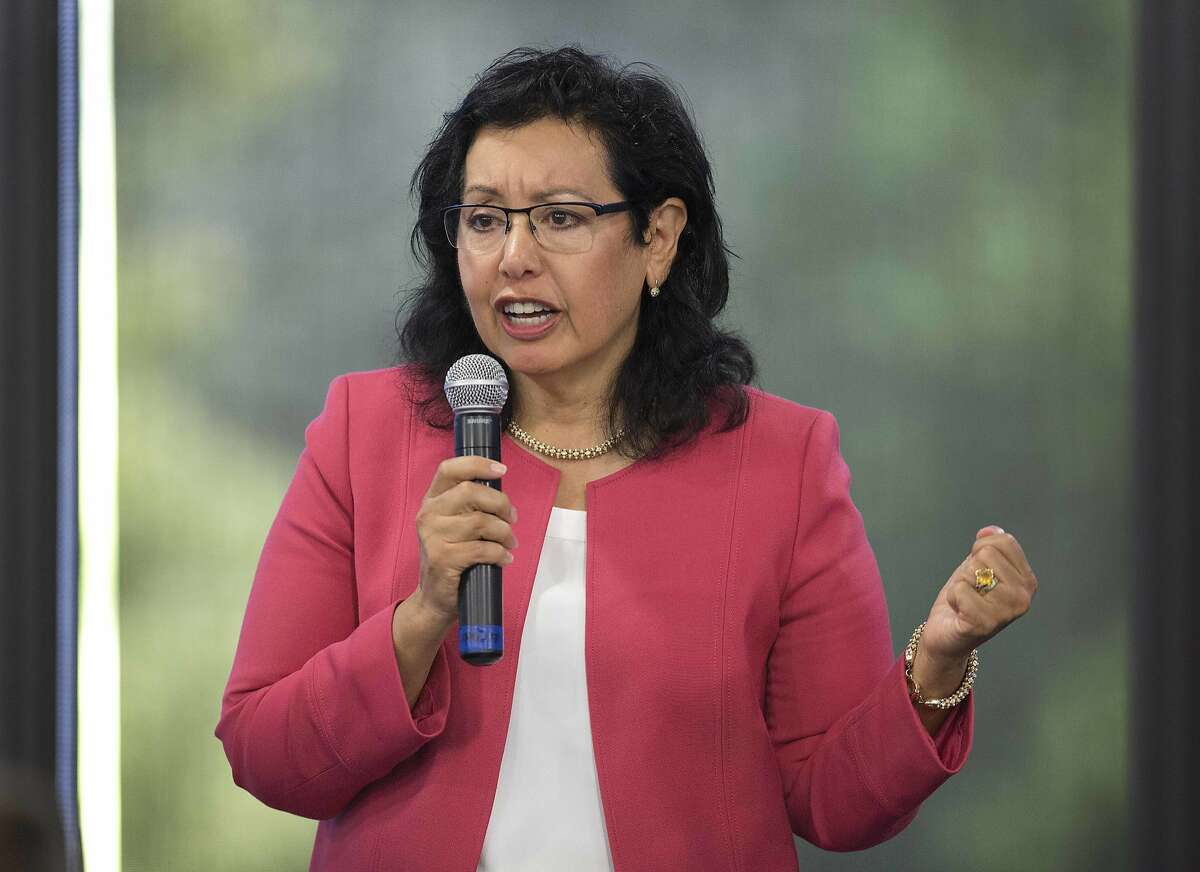 Republican candidate for Lt. Governor Lydia Ortega speaks during a debate sponsored by the Sacramento Press Club in Sacramento, Calif., Tuesday, April 17, 2018. (AP Photo/Steve Yeater)