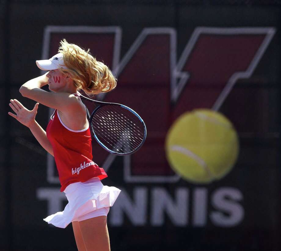 Avery Hilbig of The Woodlands will compete in the UIL state tennis tournament Thursday and Friday in College Station. In this file photo, she returns a serve during the District 12-6A tournament at The Woodlands High School, Thursday, April 5, 2018, in The Woodlands. Photo: Jason Fochtman, Staff Photographer / Houston Chronicle / © 2018 Houston Chronicle