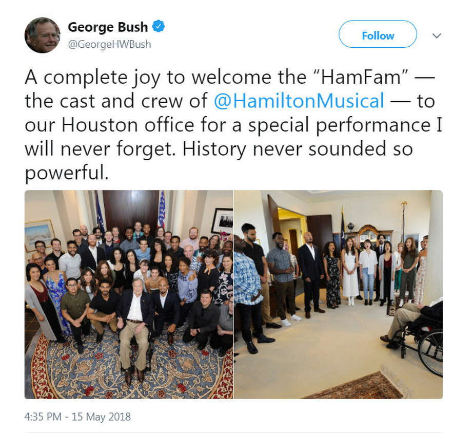 President George H.W. Bush got a special performance from the cast and crew of Hamilton in Houston, according to a May 15, 2018 tweet.Image source: Twitter Photo: George H.W. Bush Via Twitter